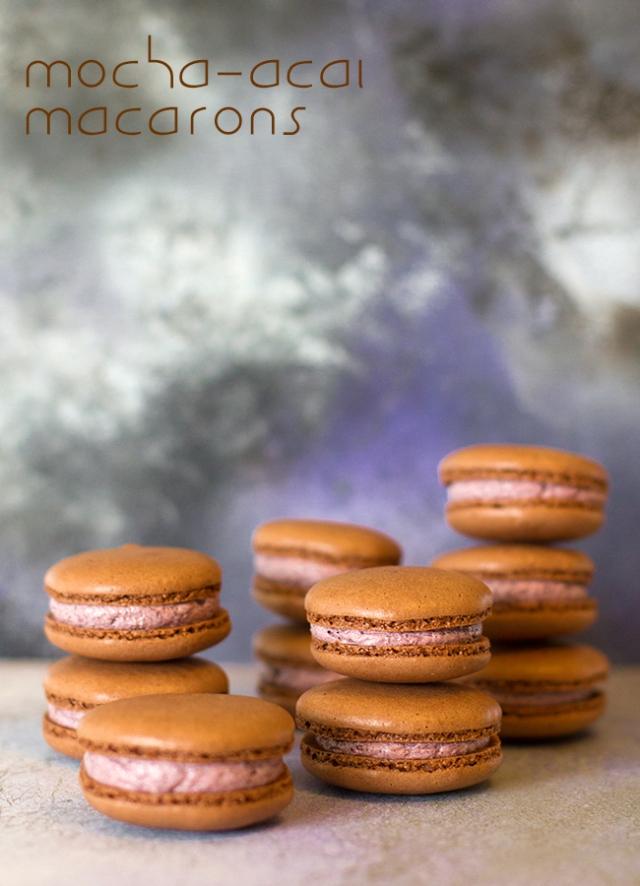 mocha acai macarons